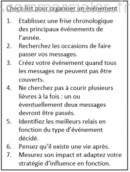 Checklist pour organiser un événement